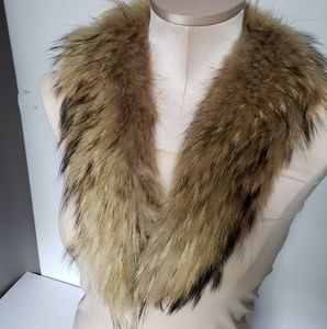 Vintage Authentic raccoon stall pelt soft long tip